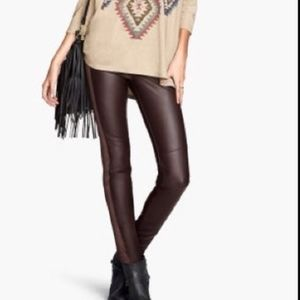 H&M Brown Faux Leather Panel Moto Leggings Pants